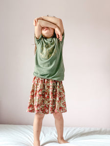 Scattered flowers, linen, Ruffle top skirt