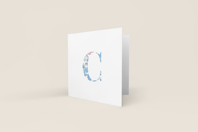 Liberty of London, personalised Greetings card, Betsy light blue