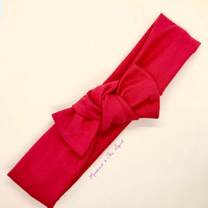 Red Top knot headband