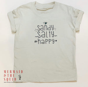 Sandy, salty, happy, T-Shirt junior