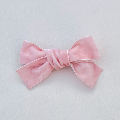 Soft pink, velvet, hand tied hair bow