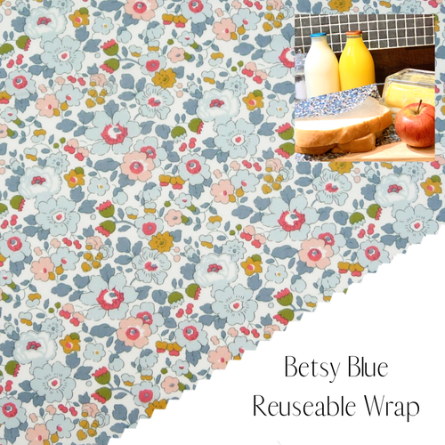 Liberty of London, Betsy Blue , bees wax reusable wrap