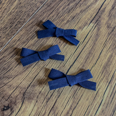 Navy Bias, hand tied petite hair bow