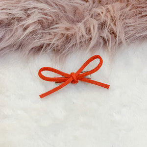 Deep Coral, hand tied petite, hair bow