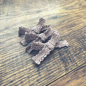 Vintage Crochet, taupe, Hand tied petite hair bow🌱