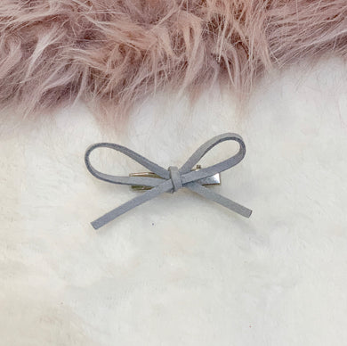 Silver Grey, hand tied petite, hair bow