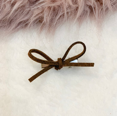 Coconut brown, faux suede, hand tied petite, hair bow