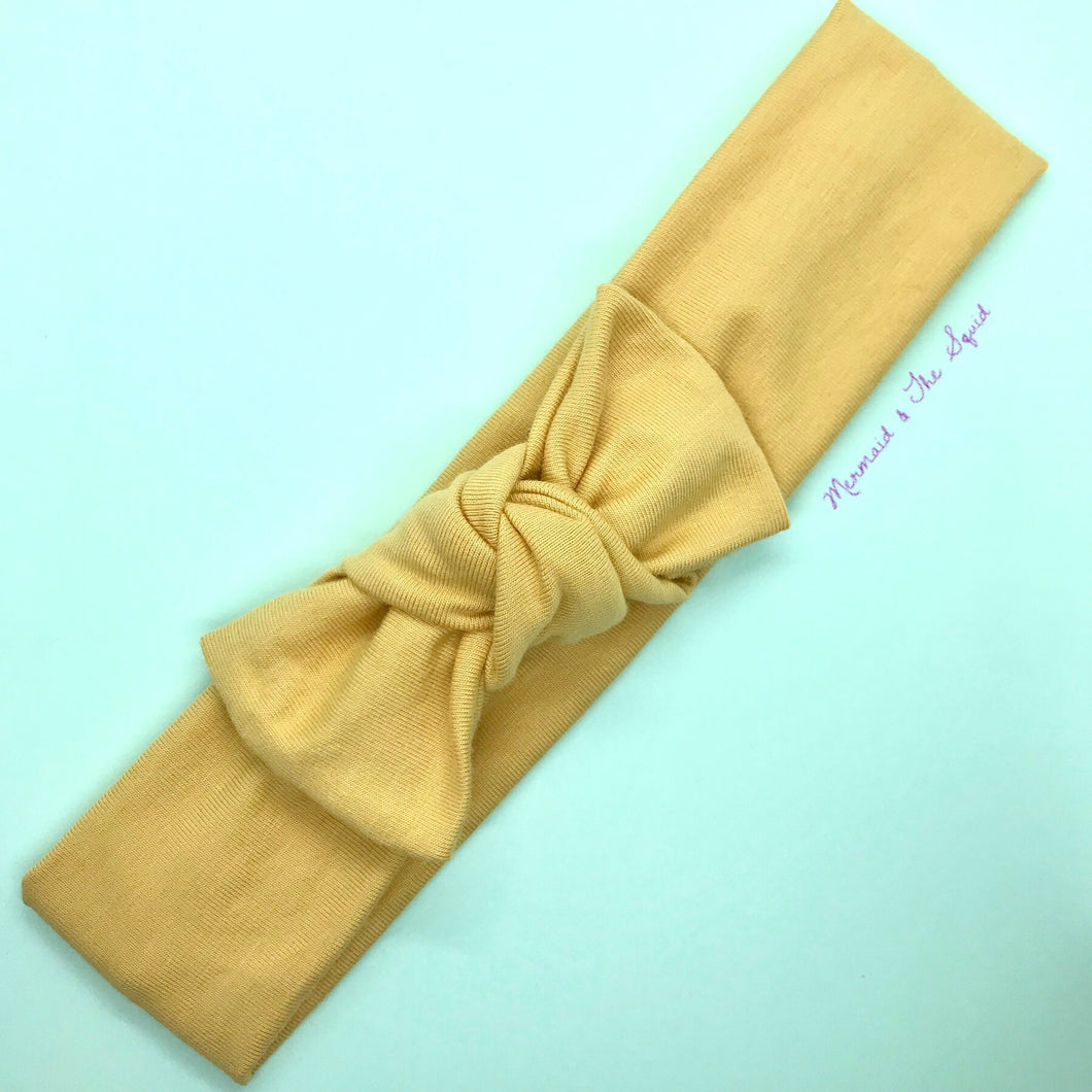 Ochre yellow Top knot headband