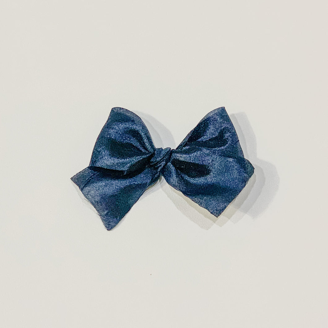 Navy blue, silky crush, hand-tied hair bow
