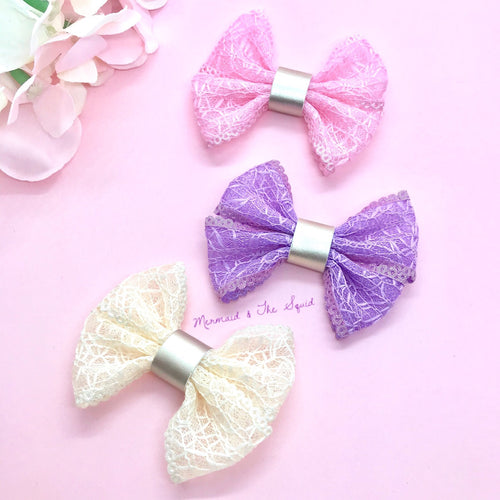 Elegant lace Ribbon hair bows 🌱