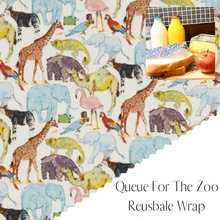 Load image into Gallery viewer, Liberty of London, Queue For The Zoo, bees wax reusable wrap