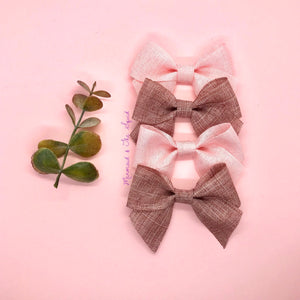 Linen ribbon hair bows 🌱