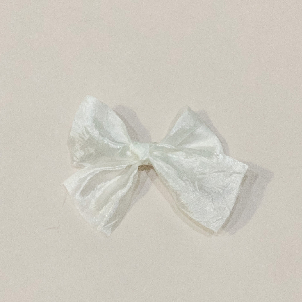 Ivory, silky crush, hand-tied hair bow