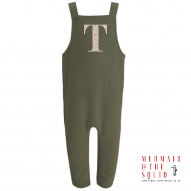 Liberty of London, Betsy Anne pink, initial / number, Dungarees