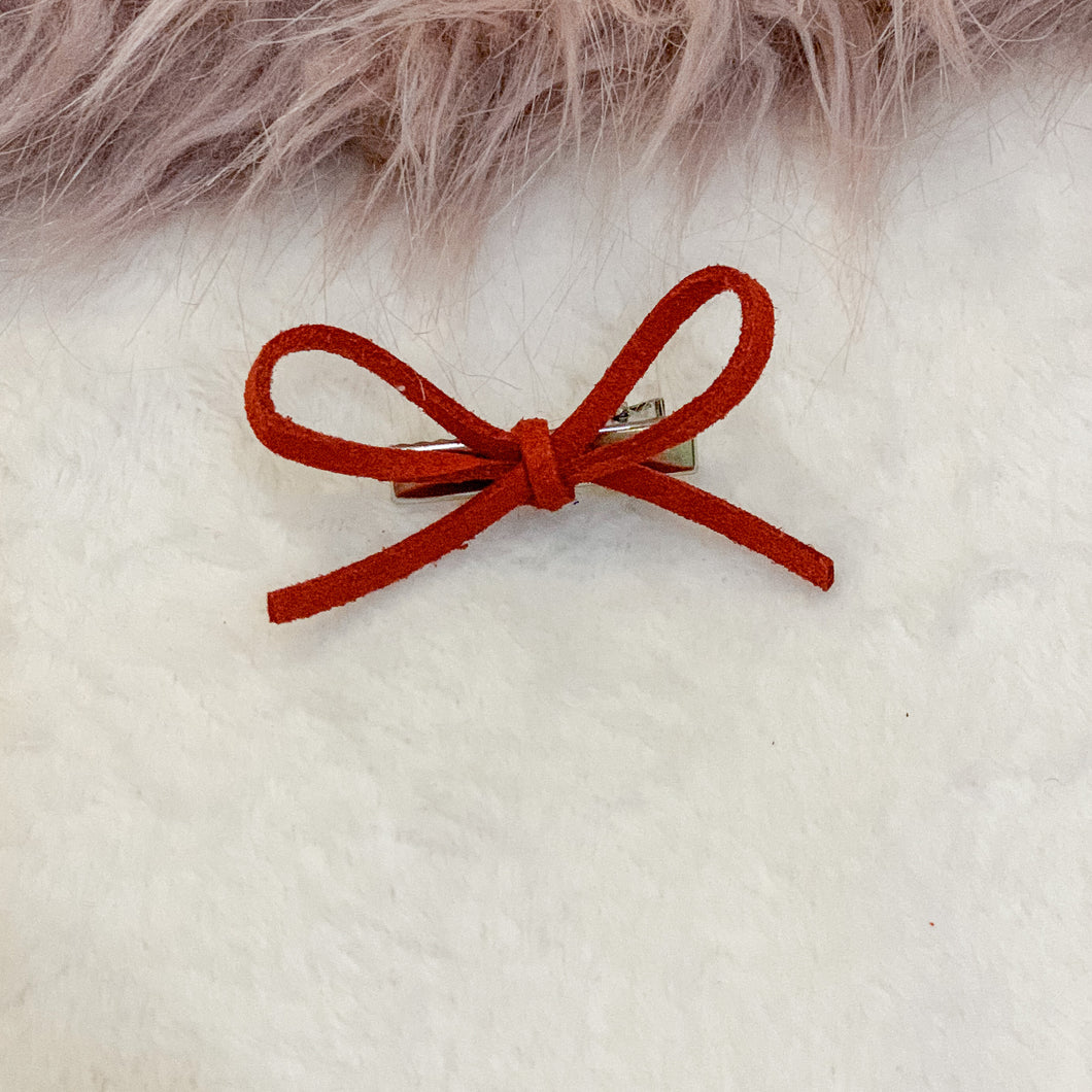 Fire brick red, faux suede, hand tied petite, hair bow