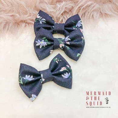 Liberty of London, Winterborne Lawn Navy, Classic Hair Bow