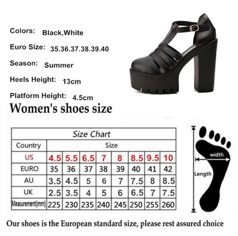 Ankle Buckle Platforms Size Chart