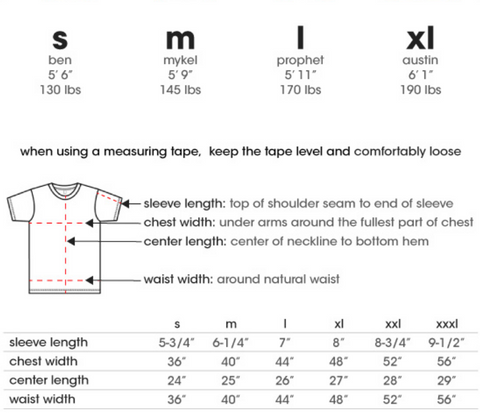 SapceKittyCo Alternative Clothing Brand Pocket Tee Size Chart