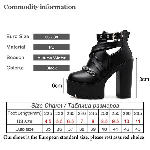 Chain Buckle Boots Size Chart - SpaceKittyCo Punk Boots