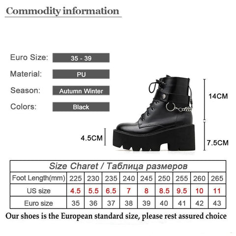 Chained Boots Size Chart - SpaceKittyCo Punk Shoes