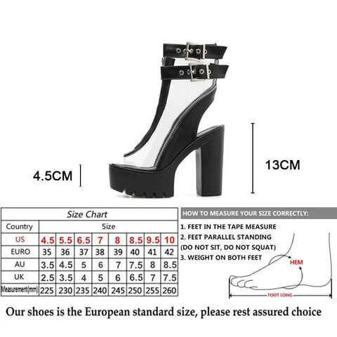 Clear PVC Buckle Ankle Peep Toe Platforms Size Chart