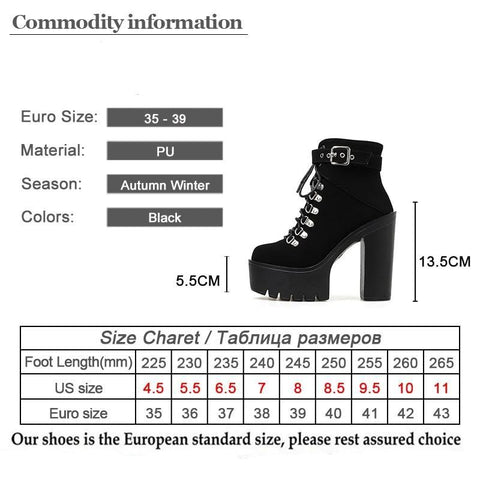Super Lace Up Buckle Strap Boots Size Chart