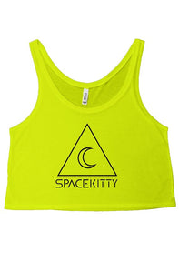 SpaceKittyCo Neon Green Crop T-Shirt, E-Girl/E-Boy Fashion, Alternative Clothing Brand Grunge Fashion
