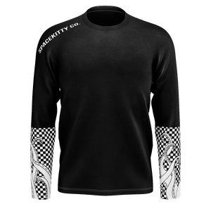 SpaceKittyCo Black Checkered Space Tentacle Long Sleeve T-Shirt, E-Girl/E-Boy Fashion, Alternative Clothing Brand Grunge Fashion