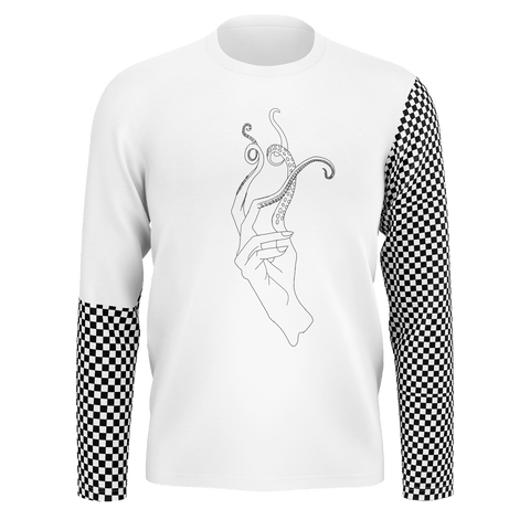 SpaceKittyCo Sea Witch Black & White Checkered Long Sleeve T-Shirt, E-Girl/E-Boy Fashion, Alternative Clothing Brand Grunge Fashion