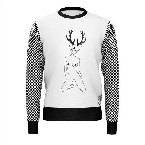 SpaceKittyCo Wood Witch Black & White Checkered Jumper/Sweatshirt, E-Girl/E-Boy Jumpers/Sweatshirts, Alternative Fashion Brand
