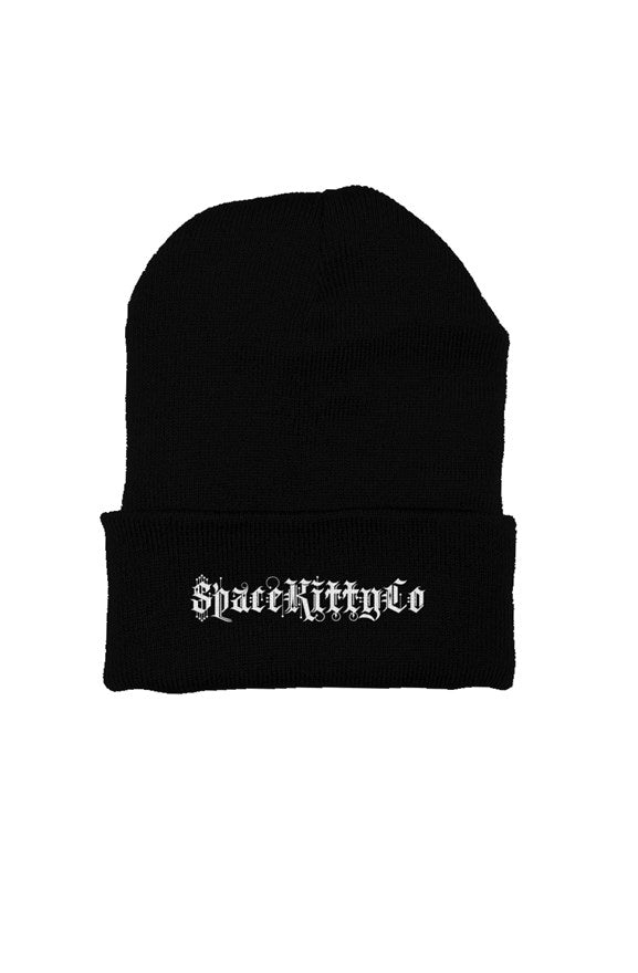 SpaceKittyCo Black Beanie, E-Girl/E-Boy Fashion, Alternative Clothing Brand Grunge Fashion