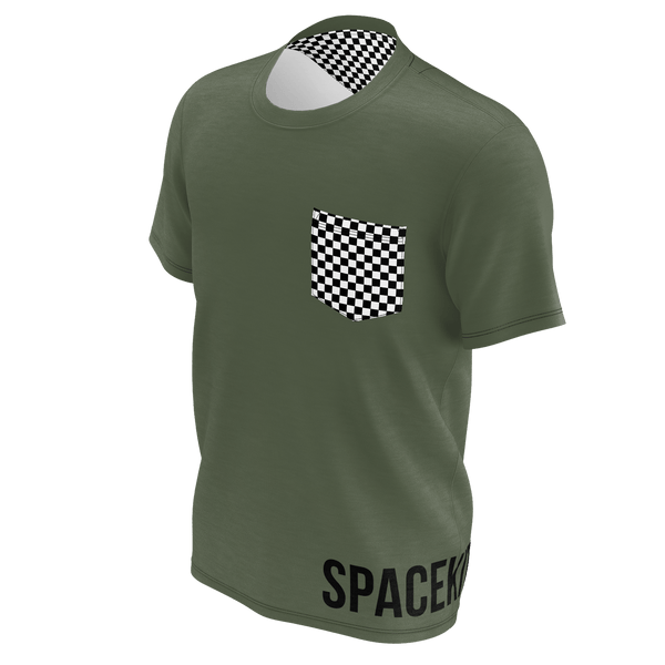 SpaceKittyCo Black & White Checker Pocked Olive Green T-Shirt, E-Girl/E-Boy Fashion, Alternative Clothing Brand Grunge Fashion