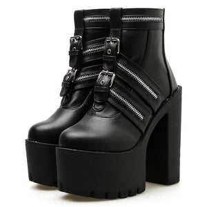 Zip Platform Boots, E-Girl/E-Boy Fashion, Alternative Clothing Brand Grunge Fashion