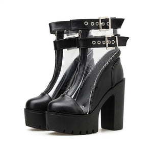 Clear PVC Ankle Buckle Platforms