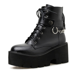 Chain & Buckle Platform Boots, E-Girl/E-Boy Fashion, Alternative Clothing Brand Grunge Fashion