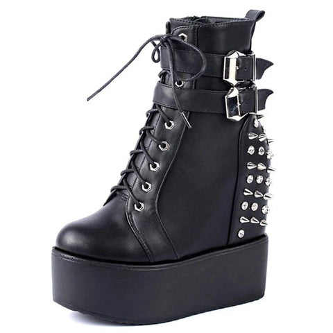 Spike & Buckle Platform Boots, E-Girl/E-Boy Fashion, Alternative Clothing Brand Grunge Fashion