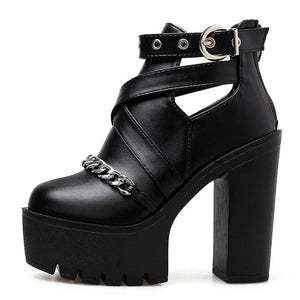 Buckle Chain Platform Boots, E-Girl/E-Boy Fashion, Alternative Clothing Brand Grunge Fashion