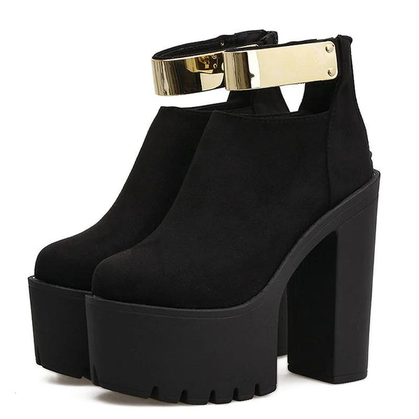 Gold Ankle Strap Platform Boots, E-Girl/E-Boy Fashion, Alternative Clothing Brand Grunge Fashion