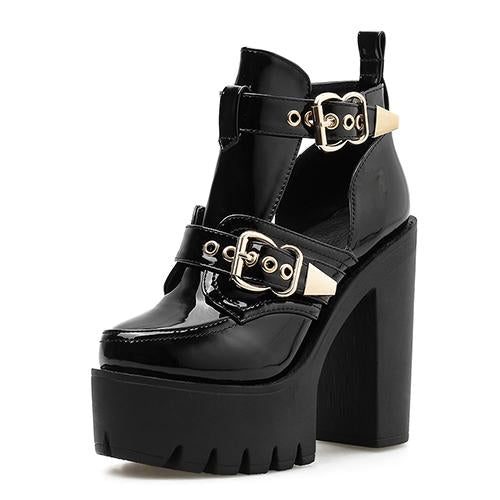 Cut Out Buckle Platform Boots, E-Girl/E-Boy Fashion, Alternative Clothing Brand Grunge Fashion