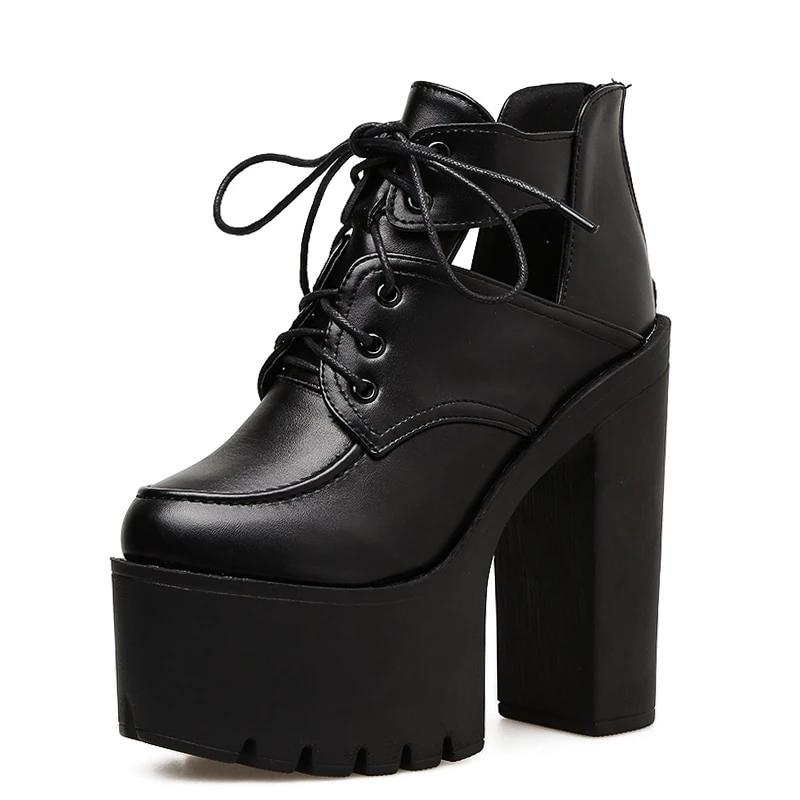 Lace Up Cut Out Platforms