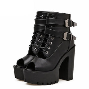 Lace Up Buckle Strap Peep Toe Platforms