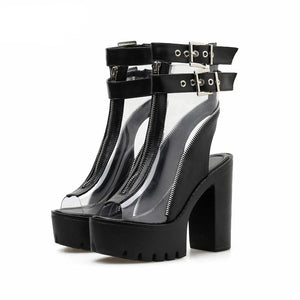 Clear PVC Buckle Ankle Peep Toe Platforms