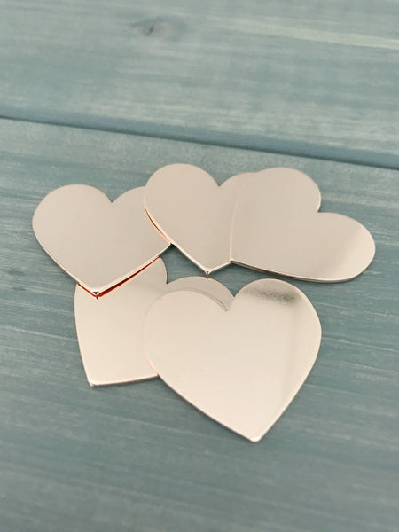 Copper Heart Offset Stamping Blank FIVE Jewelry Hand Stamping Blanks Hand Stamping Supplies 20G Copper 1 inch Heart