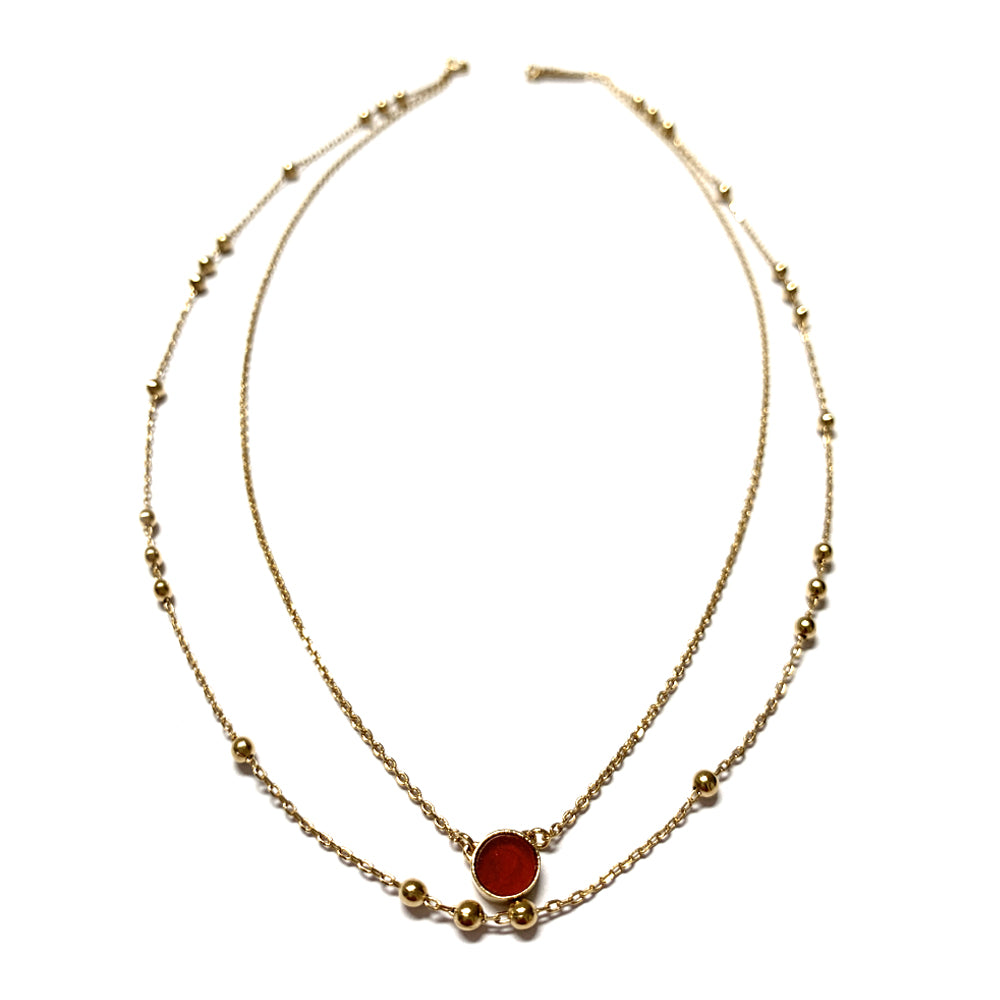 Collier double N° 2 - Cornaline