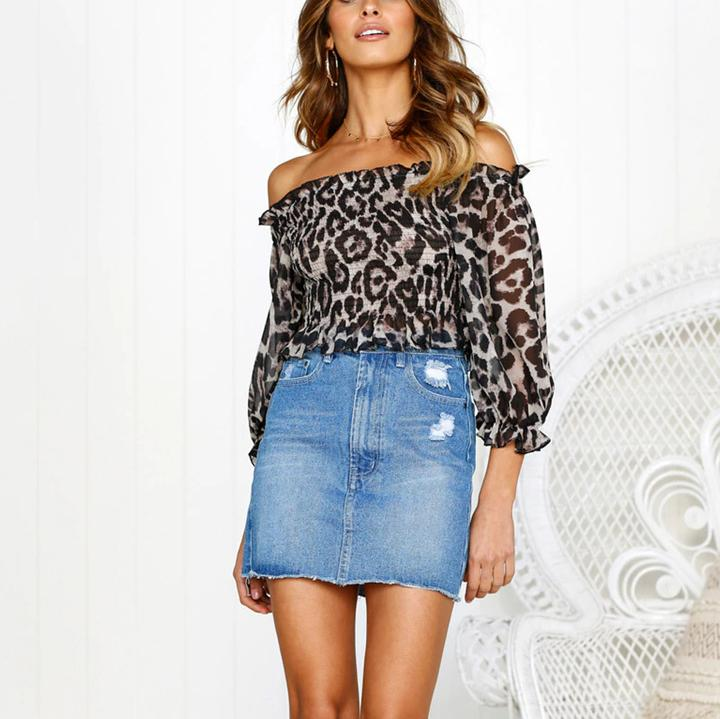 0f88cb74369f11 ... Casual Sexy Off The Shoulder Boat Neck Chiffon Leopard Print Blouse  Shirt ...