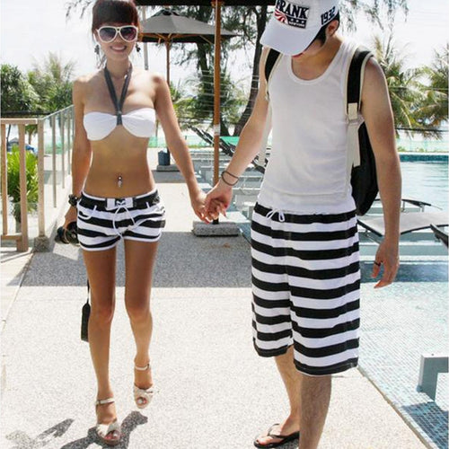 BeachWearPlus® Couple Stripes Board Shorts Men Women