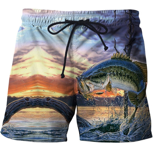 BeachWearPlus® 3D Printed Fish Design Board Shorts for Men