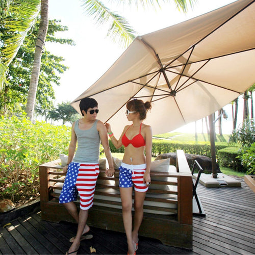 BeachWearPlus® American Flag Print Board Shorts for Men & Women