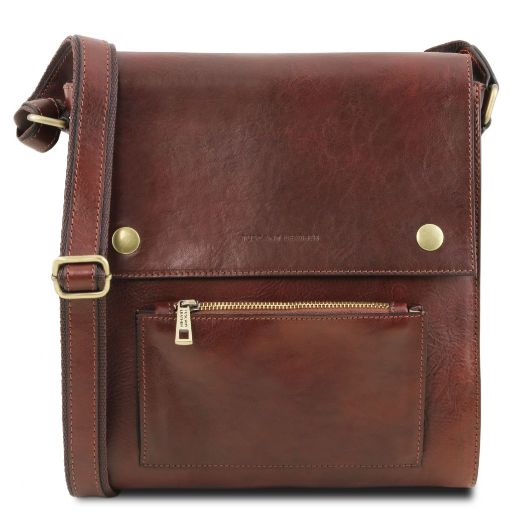 9cd9f2e8f0 Oliver Leather crossbody bag for men with front pocket