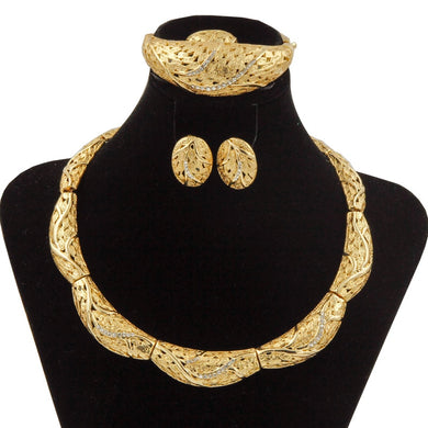 Classic Bridal Crystal Round Gold Earring/Necklace/Ring Jewelry Set